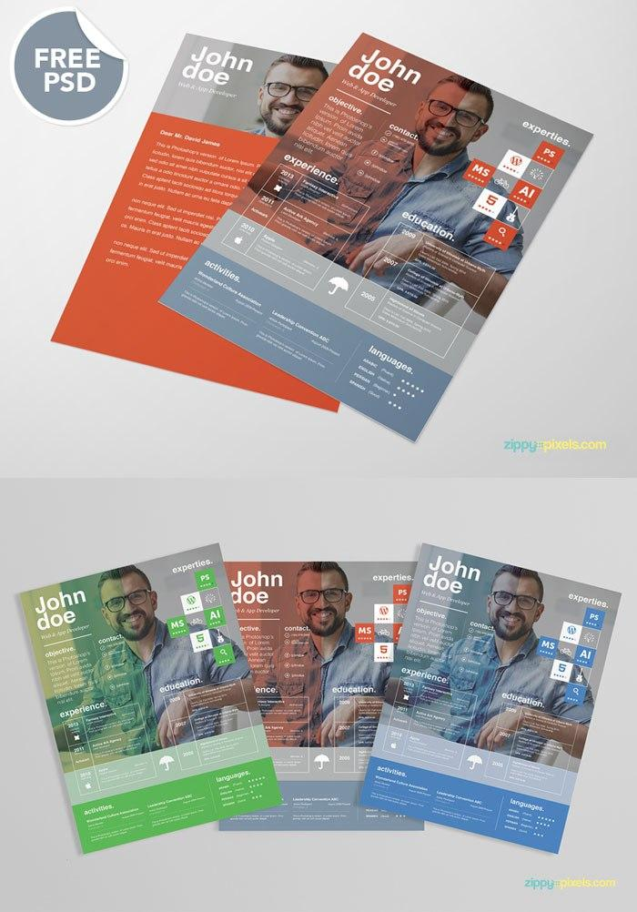 Ingenious Design In 3 Colors  Colorful Resume Templates