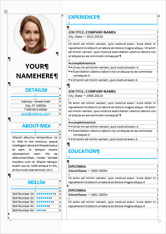 microsoft word resume sample