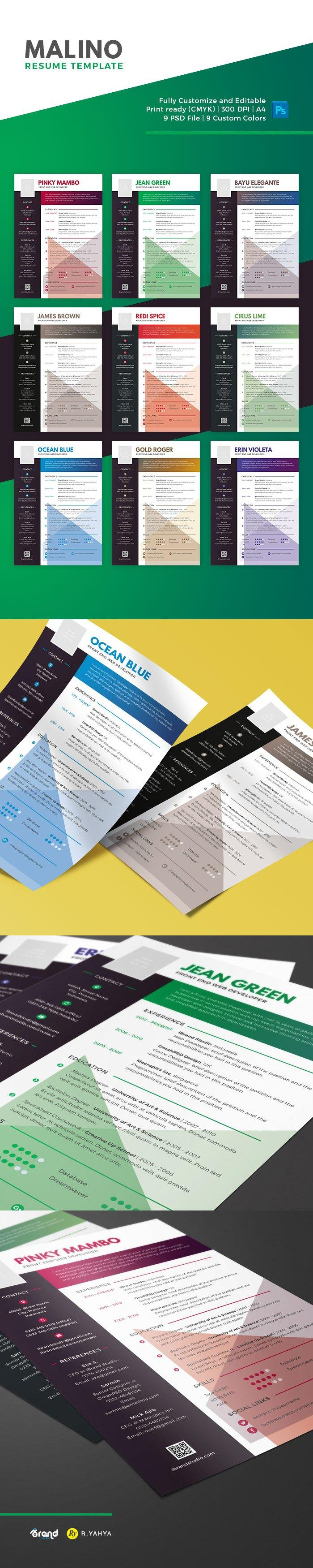 a totally free resume template in 9 awesome personalized colors malino come with simply and fashionable design very easy to modify and editable in - Totally Free Resume Template