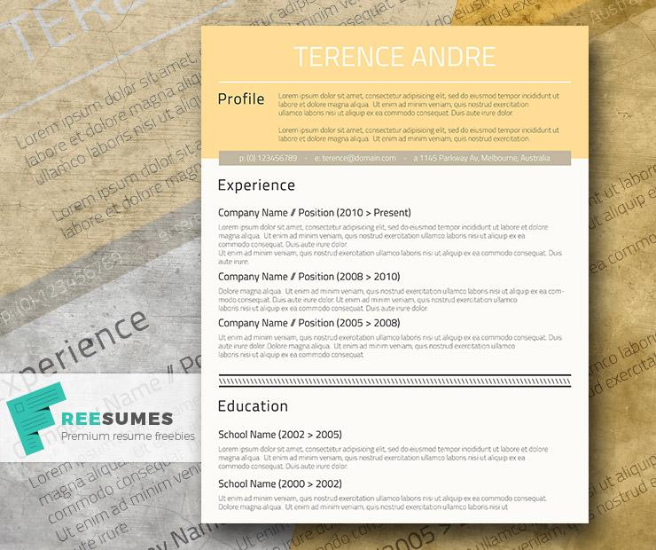 professional free cv design buff yellow
