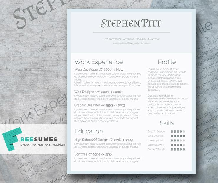 36Cold As Ice The Simplified Freebie Resume Design  Simple Graphic Design Resume