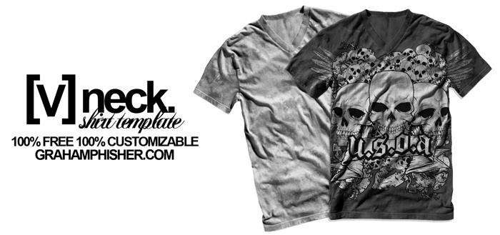 vneck_tshirt_template