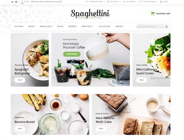 Spaghettini Restaurant Magento Theme