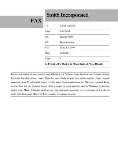 Fax Sheet Cover Template  Fax Cover Sheet