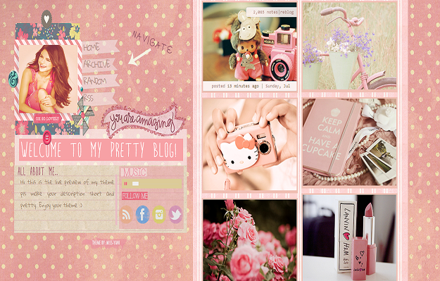 15 nice girly tumblr themes utemplates 10lets go pink voltagebd Image collections