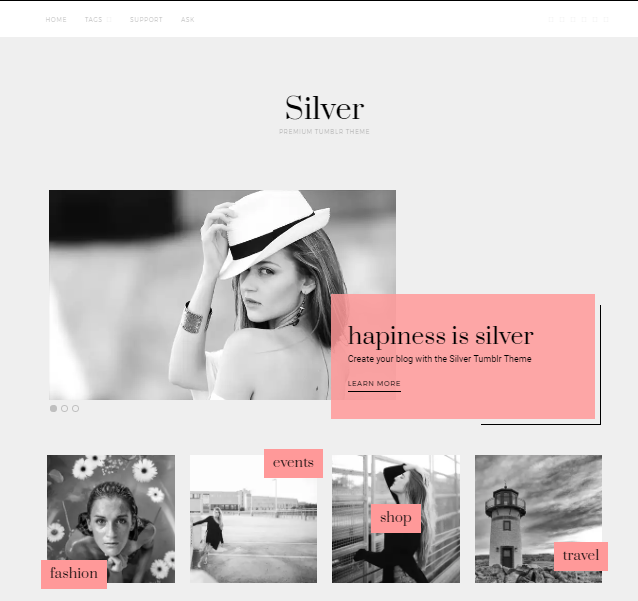 Silver Is A Simple Tumblr Theme For Fashion And Blogger It Shows Your Work With Slider Stylish Thumbnails Variety Of Widgets
