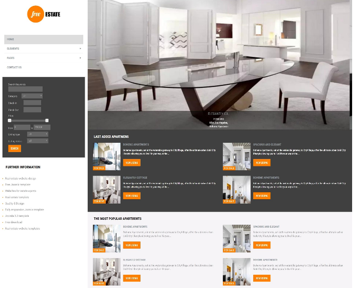 15 free premium joomla real estate templates utemplates. Black Bedroom Furniture Sets. Home Design Ideas