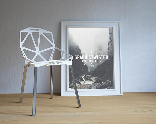 single_poster_frame_with_modern_chair
