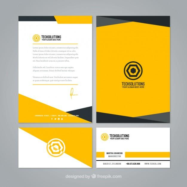 abstract_yellow_business_stationery