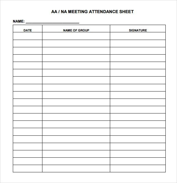 16Meeting Attendance Sheet Template  Free Printable Attendance Sheets