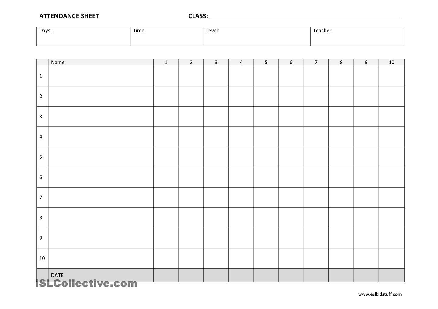 Attendance Sheet Templates on Blank Workbook