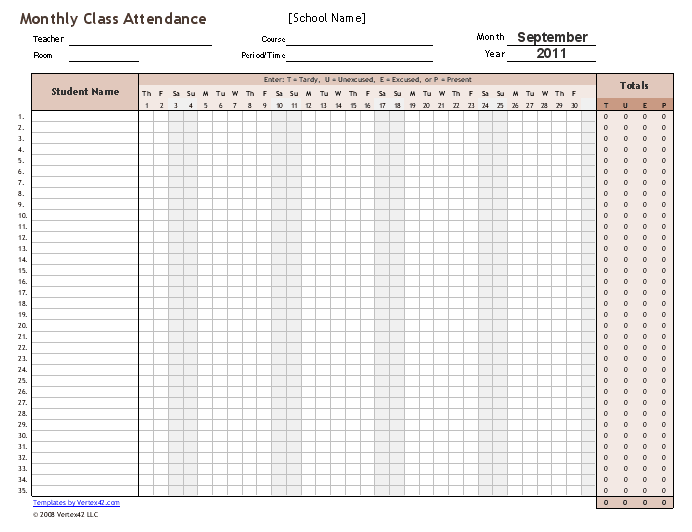 These Attendance Sheet Templates Are Designed Specifically For School Class  Attendance Where You Need To Track Student Attendance Daily And Record  Tardies, ...  Attendance Sheet For Students