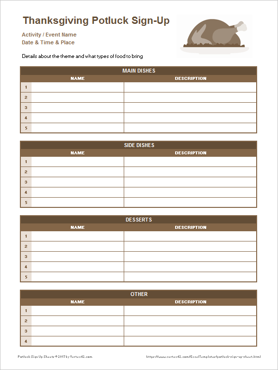 thanksgiving potluck signup sheet template - 25 printable attendance sheet templates excel word