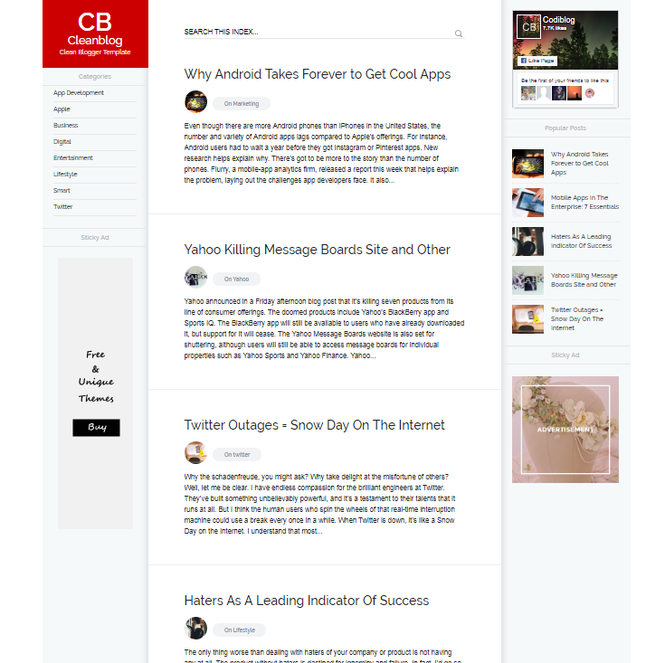 Clean Blog Is A First Blogging Responsive Best And Modern Blogger Template With Many Of Dominated Features Like Sticky Ads Unlimited Lucid Color