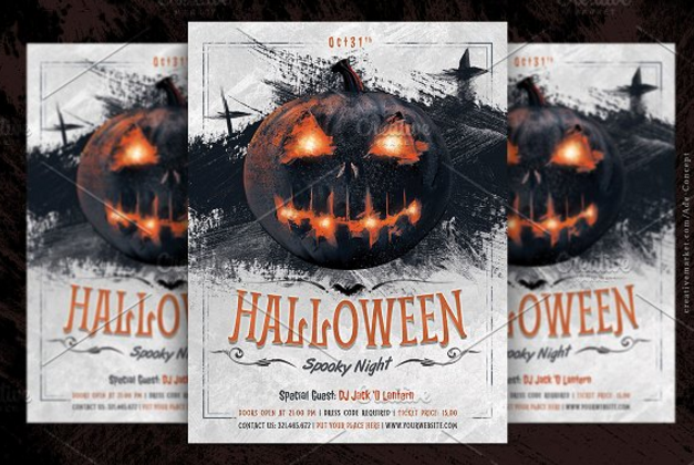 2coloured and spooky halloween party flyer