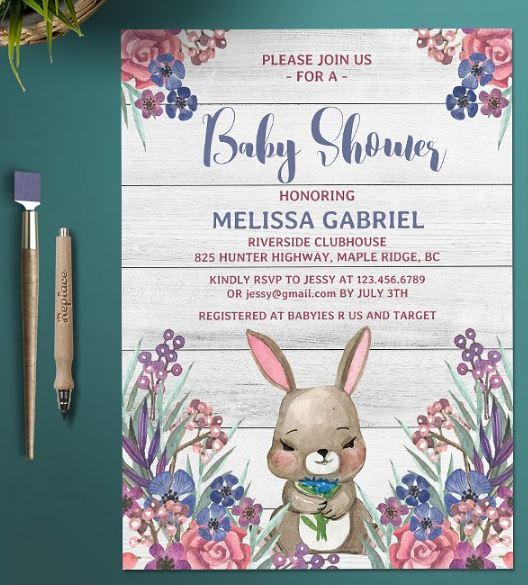 printable_watercolor_floral_cute_bunny_baby_shower_invitation_template