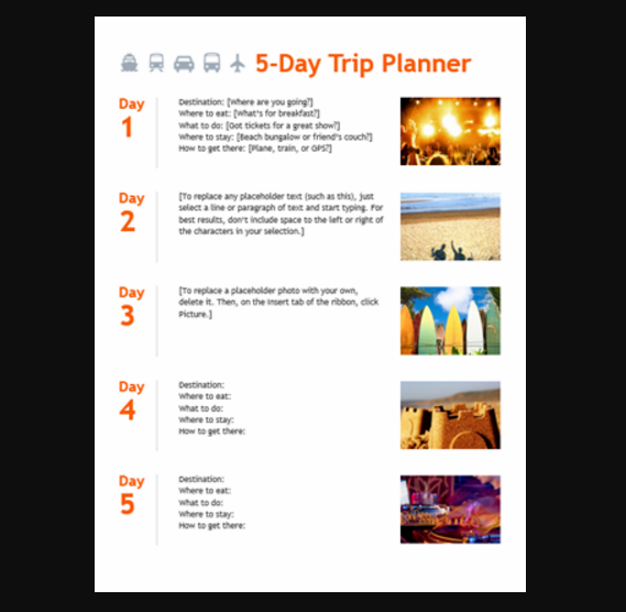 10  useful itineraries templates  wedding  traveling