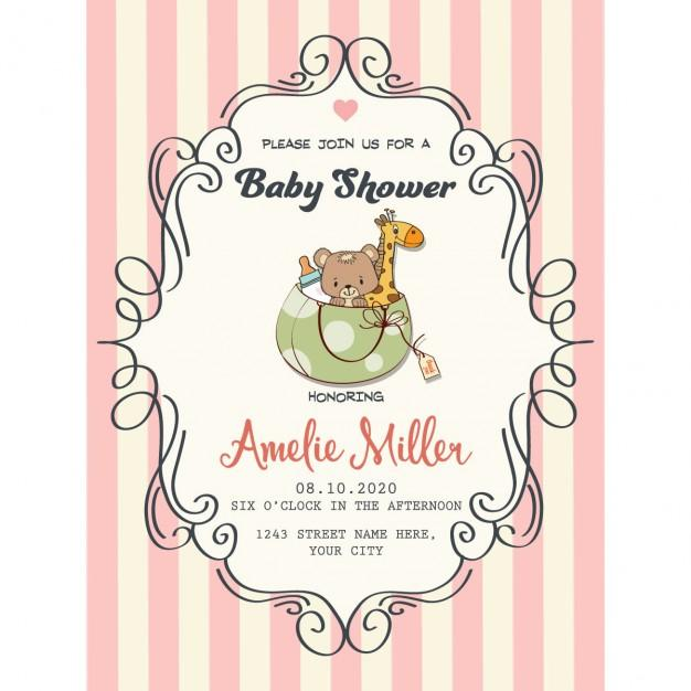 pretty_frame_on_red_lines_for_baby_shower