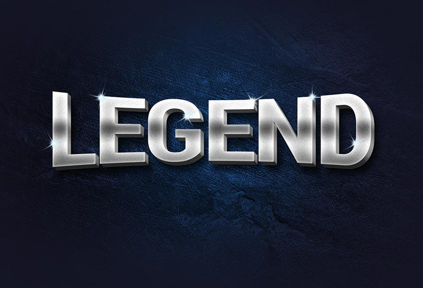 legend_3d_metal_text_effect
