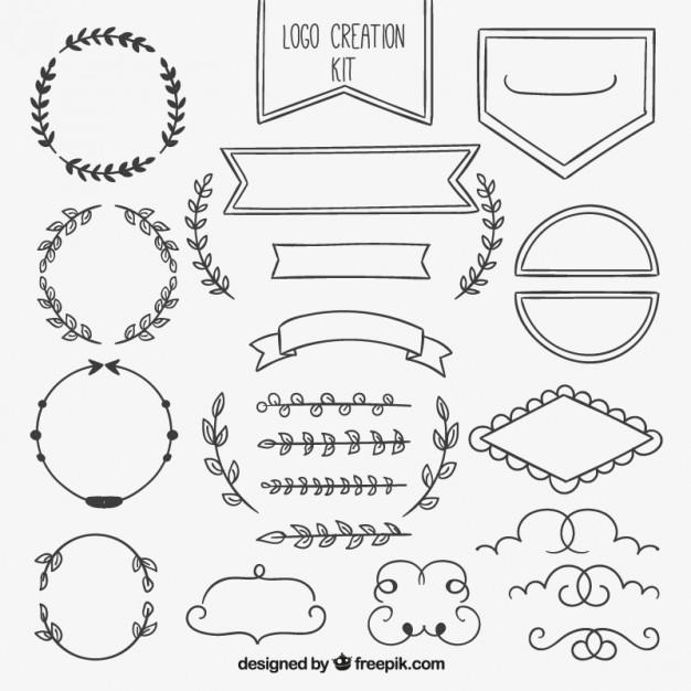 hand drawn ornamental element collection