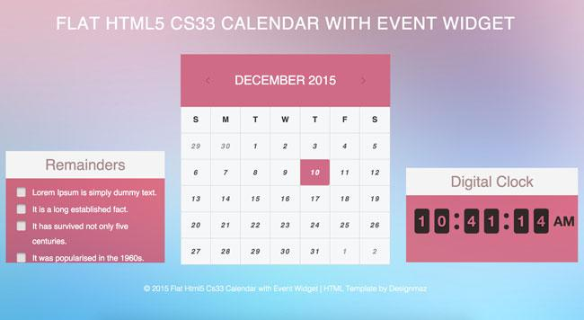 flat_html5_cs33_calendar_with_event_widget