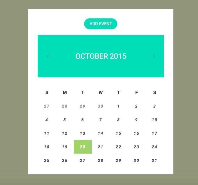 free_flat_clean_html5_calendar_widget