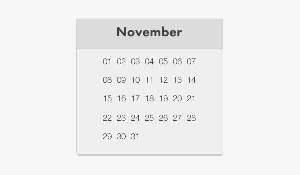 simple_html_calendar_template