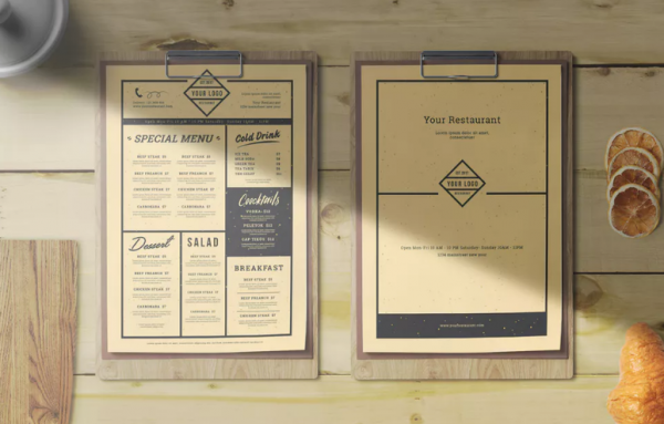 Full Editable Vintage Restaurant Menu