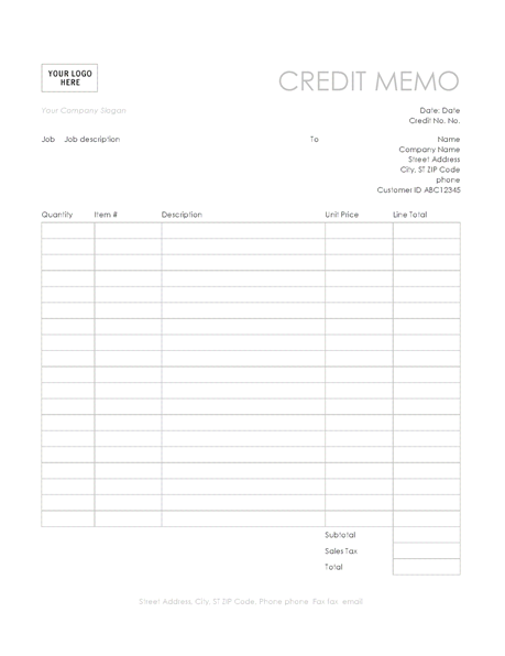 11Simple Credit Memos Template  Memos Template