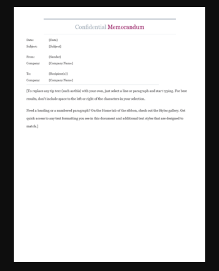 5Confidential Memo Word Template  Memo Templates For Word