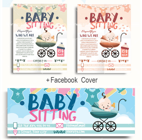 10 beautiful babysitting flyer templates utemplates for Babysitting poster template