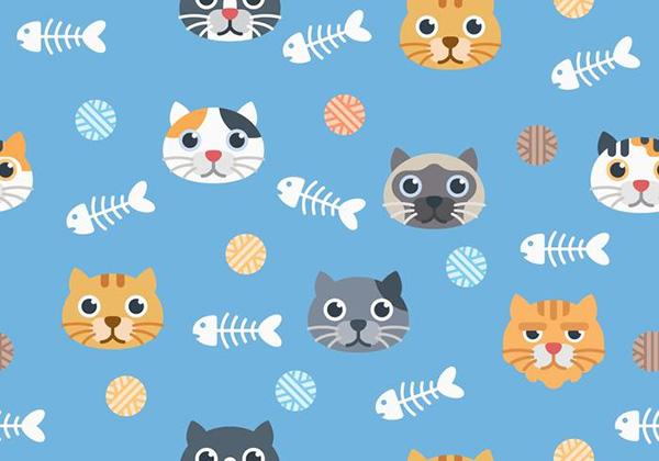 seamless_cute_cat_pattern_on_blue_background