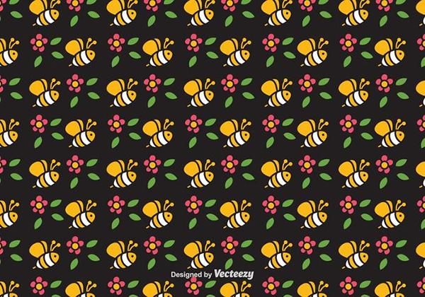 cute_bee_vector_seamless_pattern