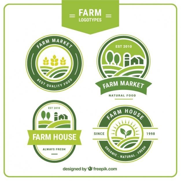 collection_of_four_green_farm_logos