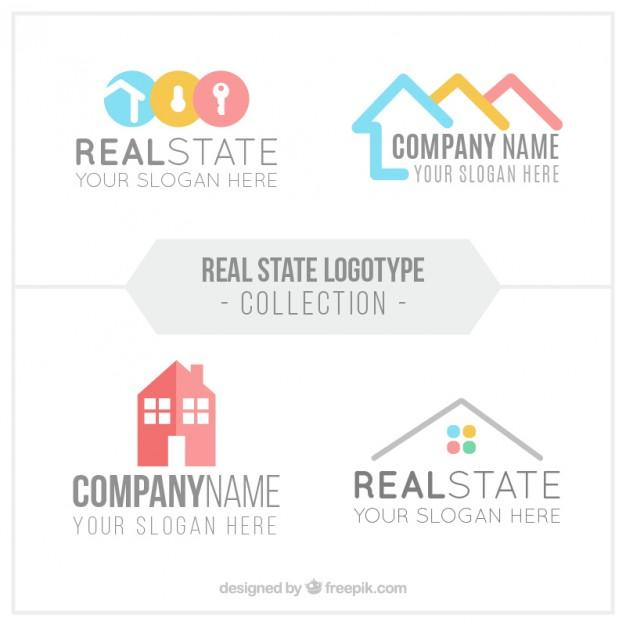 flat_real_estate_logo_collection_in_abstract_design