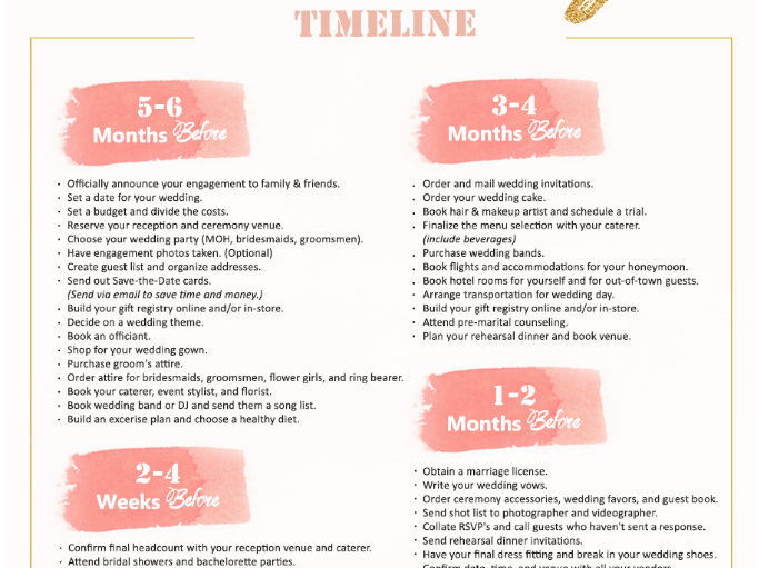 10 beautiful wedding planning checklist templates free utemplates 46 month wedding planning timeline pdf solutioingenieria Image collections