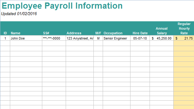 11Excel Payroll Template By JustEXW  Payroll Sheet Template