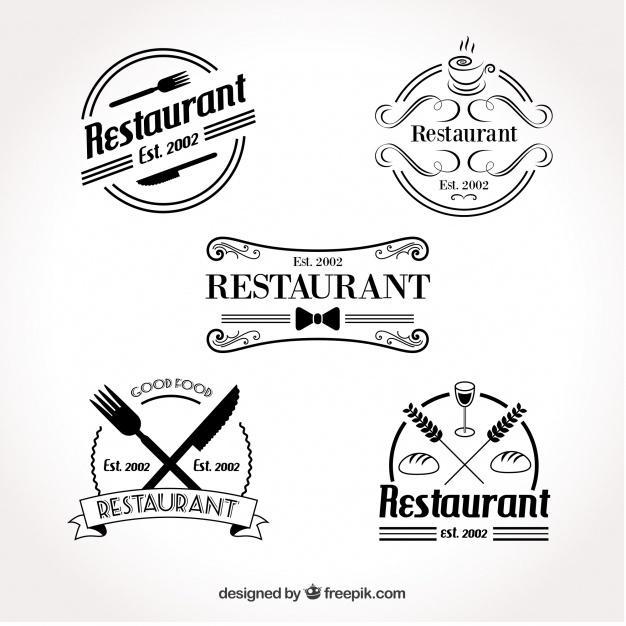 set_of_retro_restaurant_logo