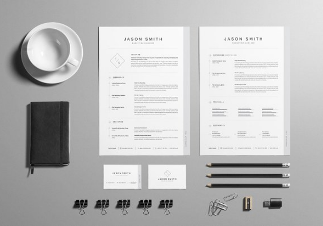 attractive_resume_cv_template_and_cover_letter_with_business_card
