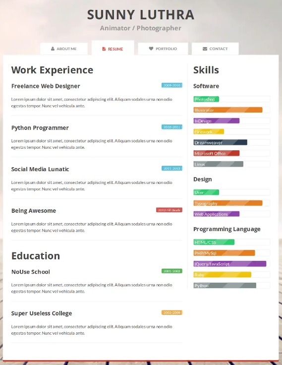 25  awesome css  html resume website templates