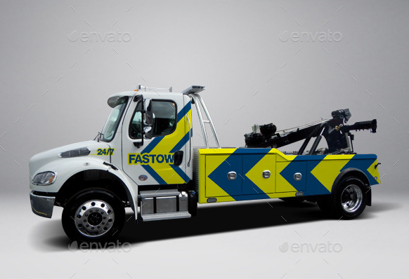 18Freightliner Heavy Tow Truck Wrap Mockup