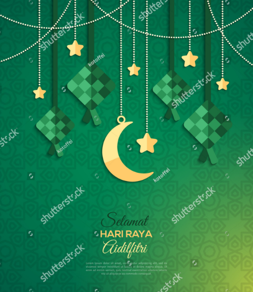 selamat_hari_raya_aidilfitri_greeting_card_with_stars_garlands_on_green_background