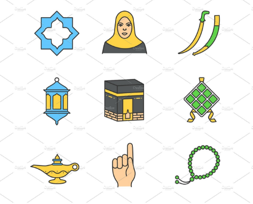 islamic_culture_linear_icons_set