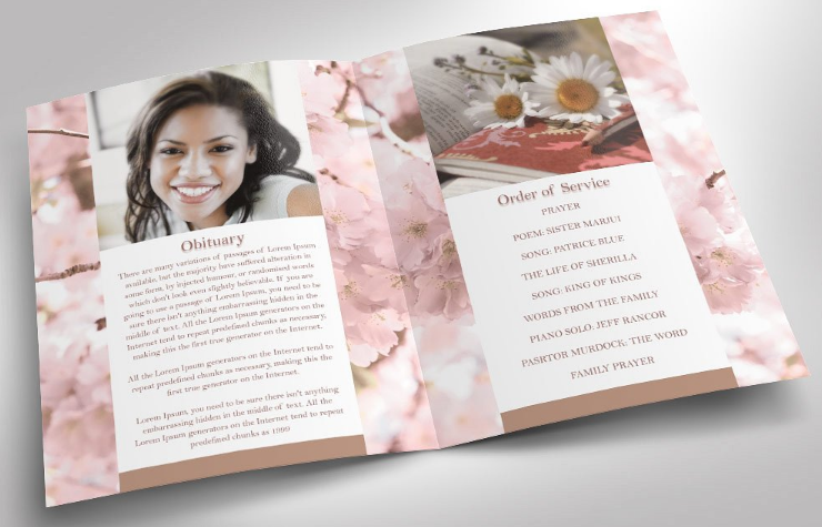 The Cherry Funeral Program Has A Modern Layout And Background Of Trees That Gives This Sweet Presentation