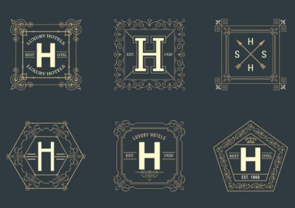 free_retro_square_hotel_logos_vector