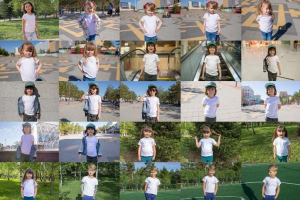 100 Kid's T-Shirt Mock-Up