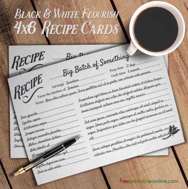 flourish_black_and_white_simple_recipe_cards